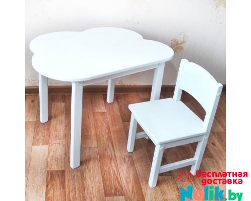 Комплект мебели . Детский столик облако со скругленными углами и стульчик (столешница 70*50). Цвет белый. Арт. 7050-OW+SO-27 в Минске