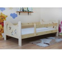 Детская подростковая кровать из массива, деревянная кровать с бортиком и ламелями. Размер 200х90, 190х80, 180х70 см. Естественный цвет. Арт. Звездочет
