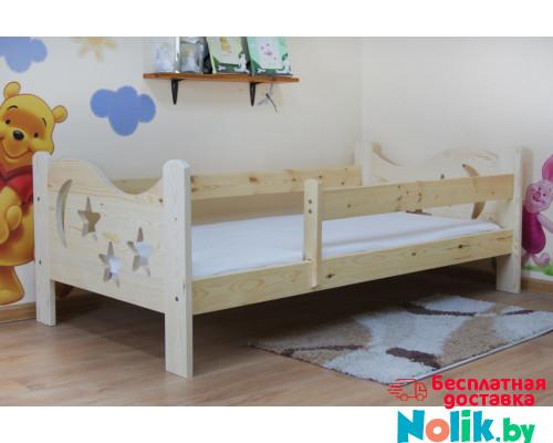 Детская подростковая кровать из массива, деревянная кровать с бортиком и ламелями. Размер 200х90, 190х80, 180х70 см. Естественный цвет. Арт. Звездочет в Минске