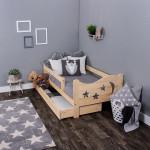 Детская кровать из массива, деревянная кровать с ящиком для вещей и бортиком . Размер 200х90, 190х80, 180х70 см. Естественный цвет. Арт. Звездочет 2