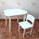 Детский столик облако и стульчик деревянный. Столик облако со скругленными углами и стульчиком. (Столешница 70*50 см). Цвет белый с натуральным. Арт. 7050-ON+SN-27-P