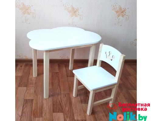 Детский столик облако и стульчик деревянный. Столик облако со скругленными углами и стульчиком. (Столешница 70*50 см). Цвет белый с натуральным. Арт. 7050-ON+SN-27-P в Минске