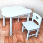 """Детский комплект мебели . Столик облако со скругленными углами и стульчик """"Сердечко""""  (столешница 70*50). Цвет белый. Арт. 7050-OW+SO-27-S"""