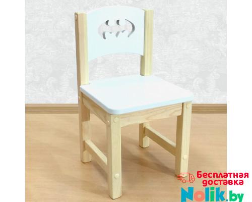 """Детский деревянный стульчик """"Бэтмен"""". Высота до сиденья 30 см. Цвет белый с натуральным. Арт. SN-30-b в Минске"""