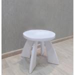 Табуретка детская деревянная круглая. Детский табурет. Высота до сиденья 27 см. Цвет белый. Арт. TZ-27-O