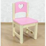 """Стульчик детский из массива """"Сердечко"""". Высота до сиденья 30 см. Цвет розовый с натуральным. Арт. SN-30-s"""