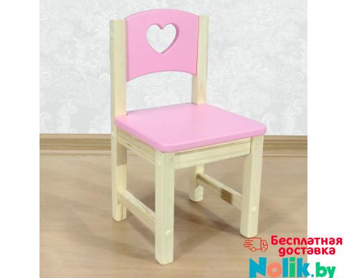 """Стульчик детский из массива """"Сердечко"""". Высота до сиденья 30 см. Цвет розовый с натуральным. Арт. SN-30-s в Минске"""