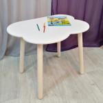 Детский столик Облачко круглые ножки деревянный со скругленными углами для игр и занятий (столешница ламинированное МДФ 70*50см). Высота 50 см. Цвет белый с натуральным. Арт. KN7050-ON