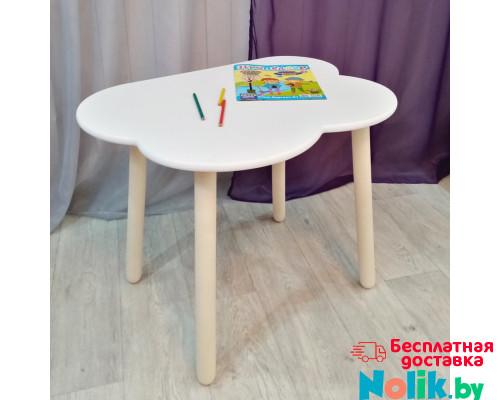 Детский столик Облачко круглые ножки деревянный со скругленными углами для игр и занятий (столешница ламинированное МДФ 70*50см). Высота 50 см. Цвет белый с натуральным. Арт. KN7050-ON в Минске