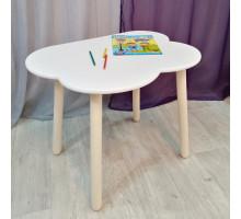 Детский столик Облачко круглые ножки деревянный со скругленными углами для игр и занятий (столешница ламинированное МДФ 70*50см). Высота 50 см. Цвет белый с натуральным. Арт. KN7050-OW