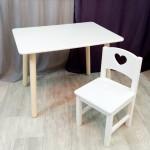 Комплект детский столик и стульчик деревянный. Столик круглые ножки и стульчиком сердечко. (Столешница 70*50 см). Цвет белый. Арт. KN7050W+SO-27-S