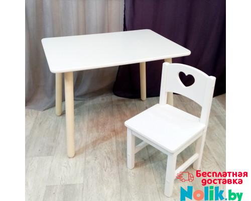 Комплект детский столик и стульчик деревянный. Столик круглые ножки и стульчиком сердечко. (Столешница 70*50 см). Цвет белый. Арт. KN7050W+SO-27-S в Минске