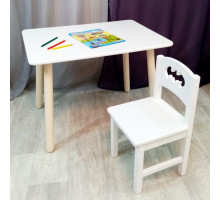 Комплект мебели столик круглые ножки и стульчик деревянный. Столик со скругленными углами и стульчиком бетмен. (Столешница 70*50 см). Цвет белый. Арт. KN7050W+SO-27-B
