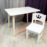 Детский столик круглые ножки и стульчик для игр и занятий. Столик со скругленными углами и стульчиком. (Столешница 70*50 см). Цвет белый. Арт. KN7050W+SO-27-P