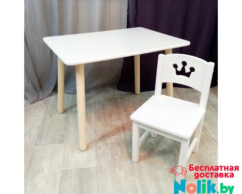 Детский столик круглые ножки и стульчик для игр и занятий. Столик со скругленными углами и стульчиком. (Столешница 70*50 см). Цвет белый. Арт. KN7050W+SO-27-P в Минске