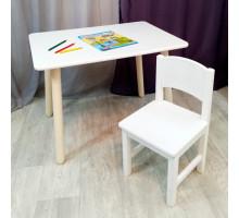 Детский комплект мебели. Столик круглые ножки со скругленными углами и стульчиком. (Столешница 70*50 см). Цвет белый. Арт. KN7050W+SO-27