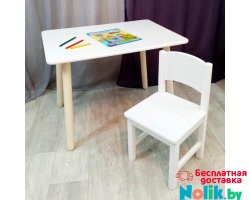 Детский комплект мебели. Столик круглые ножки со скругленными углами и стульчиком. (Столешница 70*50 см). Цвет белый. Арт. KN7050W+SO-27 в Минске