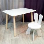 Деревянные детские столик круглые ножки и стульчик зайчик. Столик (столешница 70*50) стульчик зайка. Цвет белый. Комплект мебели. Арт. KN7050W+SZ-27-O