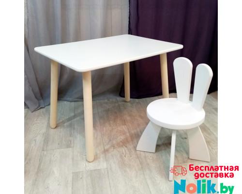 Деревянные детские столик круглые ножки и стульчик зайчик. Столик (столешница 70*50) стульчик зайка. Цвет белый. Комплект мебели. Арт. KN7050W+SZ-27-O в Минске