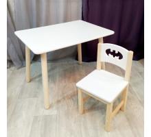 Комплект мебели столик и стульчик деревянный. Столик круглые ножки и стульчиком бетмен. (Столешница 70*50 см). Цвет белый с натуральным. Арт. KN7050W+SN-27-B