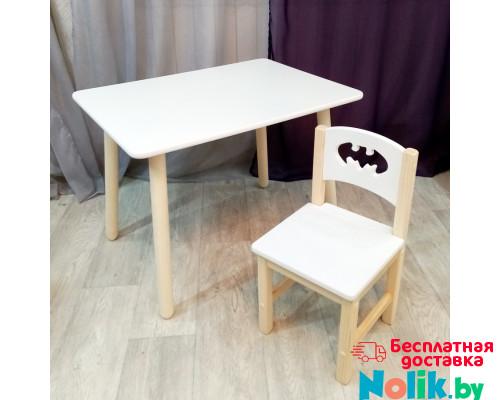 Комплект мебели столик и стульчик деревянный. Столик круглые ножки и стульчиком бетмен. (Столешница 70*50 см). Цвет белый с натуральным. Арт. KN7050W+SN-27-B в Минске