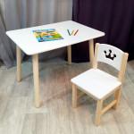 Комплект детской мебели столик круглые ножки и стульчик деревянный. Столик со скругленными углами и стульчиком принцесса. (Столешница 70*50 см). Цвет белый с натуральным. Арт. KN7050W+SN-27-P