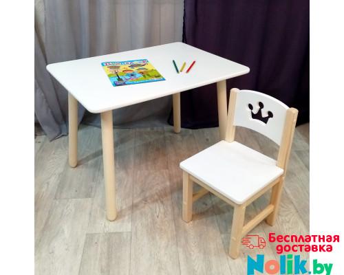 Комплект детской мебели столик круглые ножки и стульчик деревянный. Столик со скругленными углами и стульчиком принцесса. (Столешница 70*50 см). Цвет белый с натуральным. Арт. KN7050W+SN-27-P в Минске