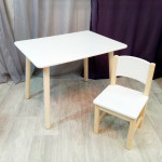 Детский столик и стульчик для игр и занятий. Столик круглые ножки и стульчиком. (Столешница 70*50 см). Цвет белый с натуральным. Арт. KN7050W+SN-27