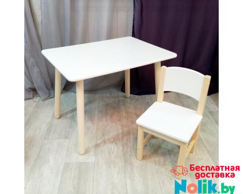 Детский столик и стульчик для игр и занятий. Столик круглые ножки и стульчиком. (Столешница 70*50 см). Цвет белый с натуральным. Арт. KN7050W+SN-27 в Минске