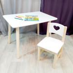 Комплект мебели для детей столик круглые ножки и стульчик. Столик со скругленными углами и стульчиком. (Столешница 70*50 см). Цвет белый с натуральным. Арт. KN7050W+SN-27-S