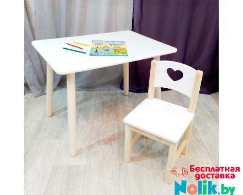 Комплект мебели для детей столик круглые ножки и стульчик. Столик со скругленными углами и стульчиком. (Столешница 70*50 см). Цвет белый с натуральным. Арт. KN7050W+SN-27-S в Минске