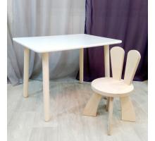 Детские столик и стульчик зайчик. Столик круглые ножки (столешница 70*50) стульчик зайка. Цвет натуральный. Комплект мебели. Арт. KN7050W+SZF-27-N