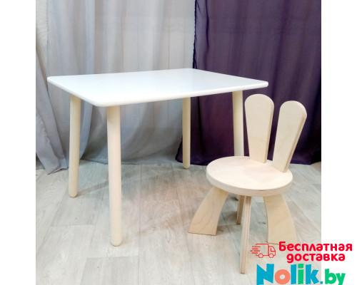 Детские столик и стульчик зайчик. Столик круглые ножки (столешница 70*50) стульчик зайка. Цвет натуральный. Комплект мебели. Арт. KN7050W+SZF-27-N в Минске