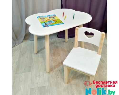 Столик облако круглые ножки и стульчик для детей деревянный. Столик облако со скругленными углами и стульчиком. (Столешница 70*50 см). Цвет белый с натуральным. Арт. KN7050-ON+SN-27-S в Минске