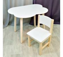 Комплект мебели столик облако круглые ножки и стульчик для детей. Столик облако и стульчиком. (Столешница 70*50 см). Цвет белый с натуральным. Арт. KN7050-ON+SN-27