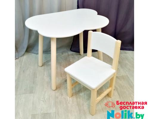 Комплект мебели столик облако круглые ножки и стульчик для детей. Столик облако и стульчиком. (Столешница 70*50 см). Цвет белый с натуральным. Арт. KN7050-ON+SN-27 в Минске