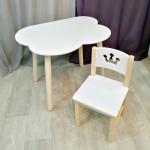 Детский комплект мебели столик облако круглые ножки и стульчик. Столик облако и стульчиком принцесса. (Столешница 70*50 см). Цвет белый с натуральным. Арт. KN7050-ON+SN-27-P