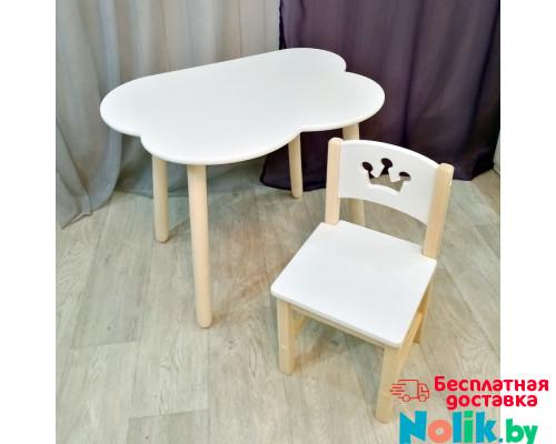 Детский комплект мебели столик облако круглые ножки и стульчик. Столик облако и стульчиком принцесса. (Столешница 70*50 см). Цвет белый с натуральным. Арт. KN7050-ON+SN-27-P в Минске