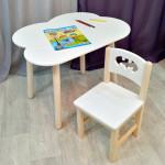 Детские столик и стульчик. Столик облако круглые ножки и стульчиком бетмен. (Столешница 70*50 см). Цвет белый с натуральным. Арт. KN7050-ON+SN-27-B