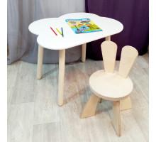Детские столик и стульчик. Столик облако, круглые ножки и стульчиком зайчик. (Столешница 70*50 см). Цвет белый с натуральным. Арт. KN7050-ON+SZF-27-N