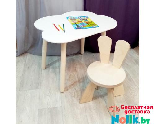 Детские столик и стульчик. Столик облако, круглые ножки и стульчиком зайчик. (Столешница 70*50 см). Цвет белый с натуральным. Арт. KN7050-ON+SZF-27-N в Минске