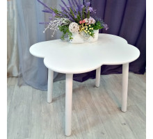 Детский столик облачко с круглыми ножками деревянный цвет белый для игр и занятий (столешница ламинированное МДФ 70*50см). Высота 50 см. Цвет белый. Арт. KNW7050-OW