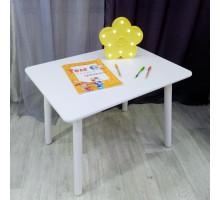 Детский деревянный белый столик со скругленными углами для игр и занятий (круглые белоснежные ножки, столешница ламинированное МДФ 70*50см). Высота 50 см. Цвет белый. Арт. KNW7050W