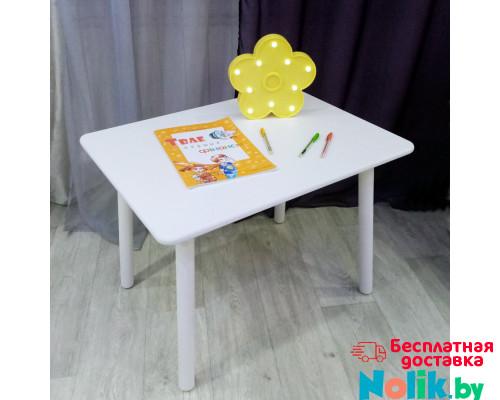 Детский деревянный белый столик со скругленными углами для игр и занятий (круглые белоснежные ножки, столешница ламинированное МДФ 70*50см). Высота 50 см. Цвет белый. Арт. KNW7050W в Минске
