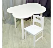 Детский комплект мебели столик облако круглые ножки и стульчик бетмен деревянный для детей. (Столешница 70*50 см). Цвет белый. Арт. KNW7050-OW+SO-27-B