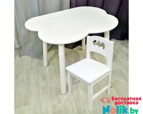Детский комплект мебели столик облако круглые ножки и стульчик бетмен деревянный для детей. (Столешница 70*50 см). Цвет белый. Арт. KNW7050-OW+SO-27-B в Минске