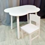 Комплект мебели стульчик из массива и столик облако круглые ножки деревянный для детей. (Столешница 70*50 см). Цвет белый. Арт. KNW7050-OW+SO-27