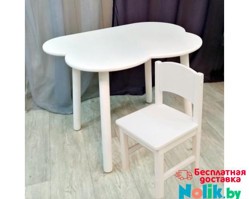 Комплект мебели стульчик из массива и столик облако круглые ножки деревянный для детей. (Столешница 70*50 см). Цвет белый. Арт. KNW7050-OW+SO-27 в Минске