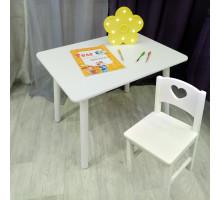 Комплект мебели для детей столик круглые ножки и стульчик сердечко. (Столешница 70*50 см). Цвет белый. Арт. KNW7050W+SO-27-S
