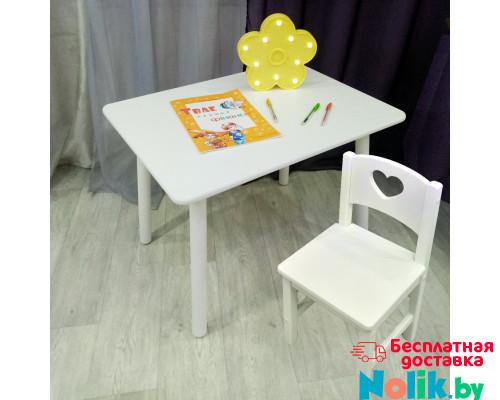 Комплект мебели для детей столик круглые ножки и стульчик сердечко. (Столешница 70*50 см). Цвет белый. Арт. KNW7050W+SO-27-S в Минске